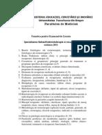 Tematica Licenta Balneo-Fiziokinetoterapie Si Recup-2011