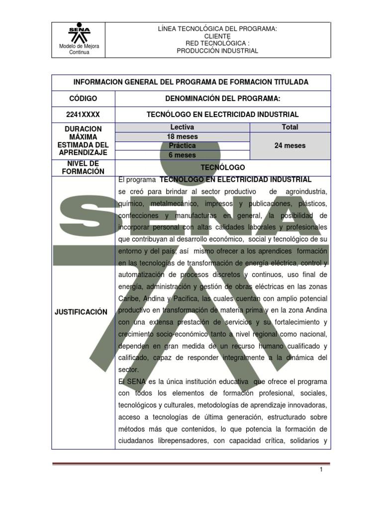 Tecnológo en Electricidad Industrial_290410