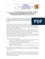 CfP Cisterciens Et Transmission Des Textes En