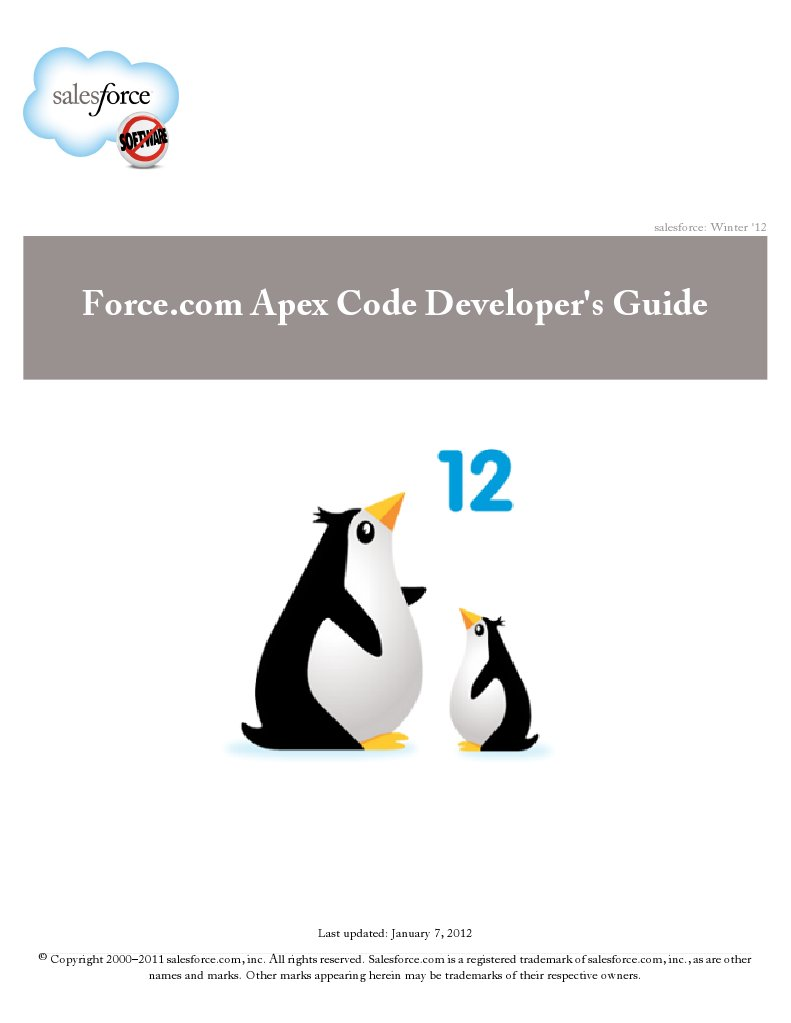 Sales Force Apex Language Reference | Application Programming