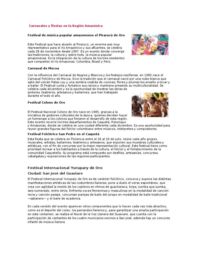 Carnavales y fiestas en la Región Amazónica