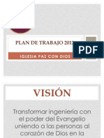 """Plan de Trabajo 2012 de la Iglesia Cristiana """"Paz con Dios"""""""
