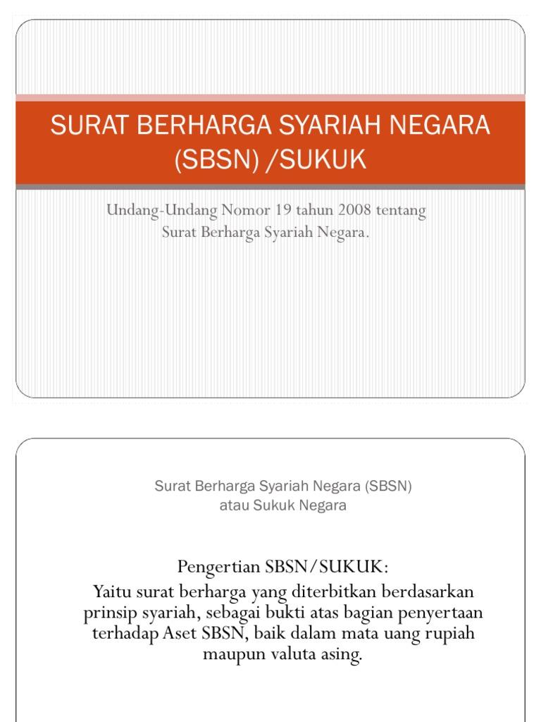 Surat Berharga Syariah Negara Sbsn