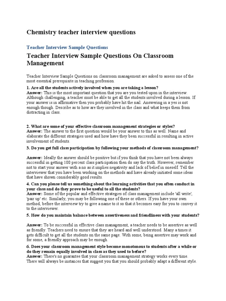 Chemistry Teacher Interview Questions Lesson Plan Classroom