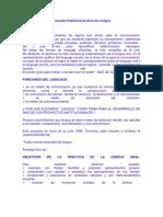 Proyecto Institucional Área de Lengua