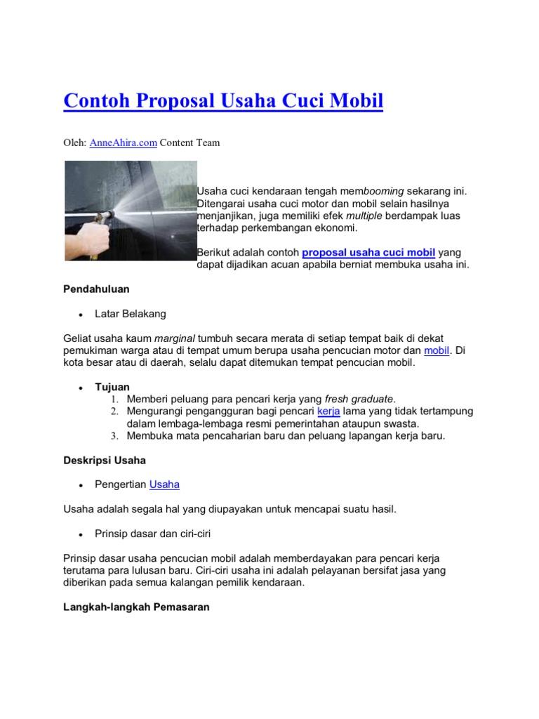 Contoh Proposal Usaha Cuci Mobil