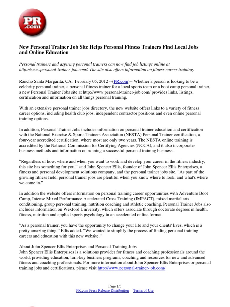 New personal trainer job site helps personal fitness trainers find new personal trainer job site helps personal fitness trainers find local jobs and online education personal trainer press release 1betcityfo Choice Image