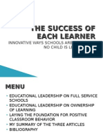 The Success of Each Learner