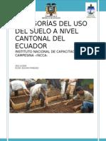 Categorias Del Uso Del Suelo Nivel Cantonal Del Ecuador