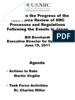 Briefing on the Progress of the  Task Force Review of NRC  Processes and Regulations  Following the Events in Japan