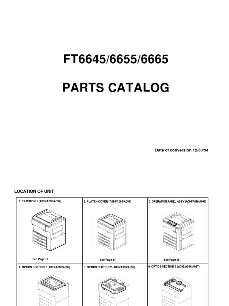 FT6645/6655/6665 Parts Catalog: Date of conversion 12/30/94
