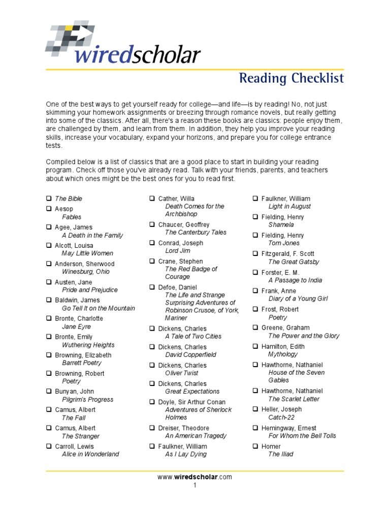 Must-Reading Checklist | Novels | English Language Literature