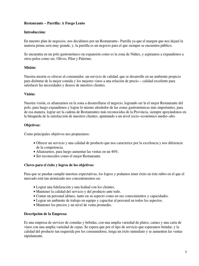 Ejemplo plan de negocios restaurante for Proyecto de restaurante pdf