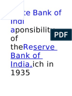 State Bank of Indiaponsibility of The Reserve Bank of India