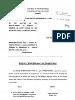 Request for Subpoenae Feb6 A900