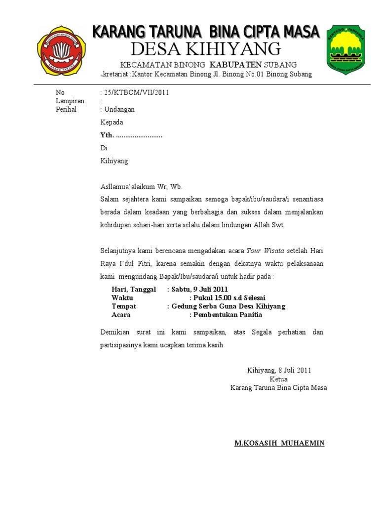 surat undangan panitia tour