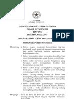 UU No. 23 Tahun 2011 Tentang Pengelolaan Zakat