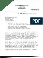 Powell-Swensson vs. Obama, Attorney Hatfield's Letter Brief to Georgia Secretary of State Regarding Decision by Judge Michael Malihi, 2-7-2012
