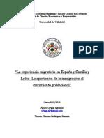 Experiencia migratoria en España y CyL. Aportación de la inmigración al crecimiento poblacional.