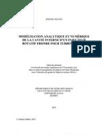Modélisation analytique et numérique de la cavité interne d'un injecteur rotatif fronde pour turbines à gaz
