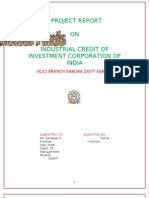 PROJECT REPORT   ON   INDUSTRIAL CREDIT OF  INVESTMENT CORPORATION OF INDIA