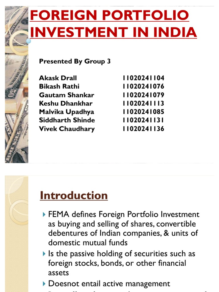 define foreign portfolio investment