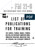 Fm 21 6 List of Publications for Training Field Manuals Technical Manuals Technical Bulletins War Department Lubrication Guides Mobilization R