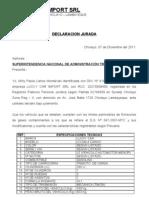 DECLARACION JURADA d.s 058 Emision de Gases Con Tam in Antes