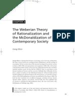 Ritzer Weber Rationalization and McDonaldization