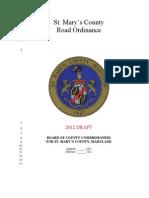 Draft 2012 Road Ordinance Update