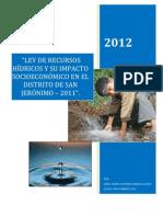 Tesis Impacto Socioeconomico de La Ley de Recursos Hidricos (Resumen)