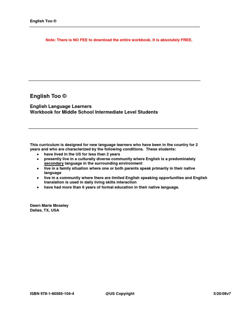 English Too ESL Workbook ELL WKBK.111708_V7 | English As A Second ...