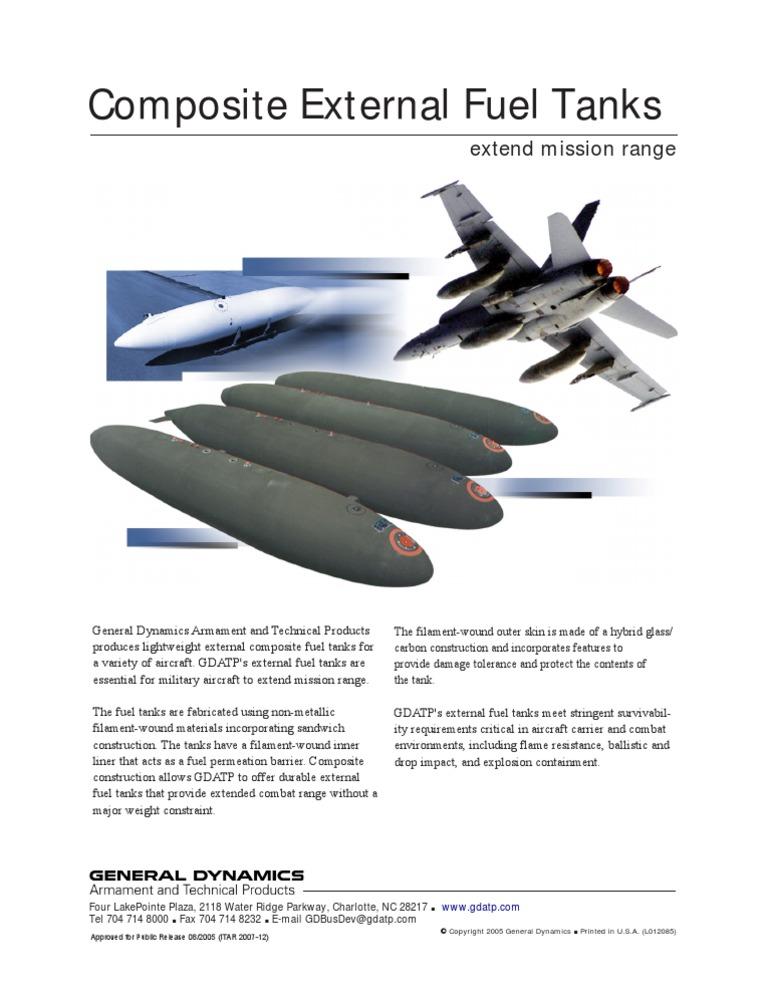 General Dynamics- Composite External Fuel Tanks extend