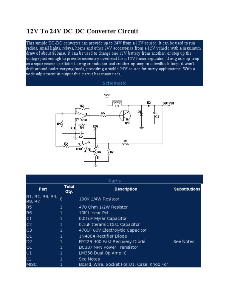 Circuits 12v To 24v Dc Converter Circuit