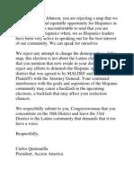 Response to Congresswoman Bernice Johnson