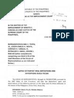 Notice of Parties' Depositions Feb7 P550