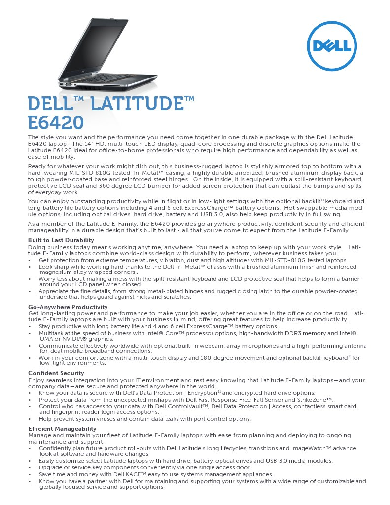 Latitude e6420 Spec Sheet | Laptop | Computer Hardware