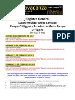Información para el Registro Extravaganza Chile 2012