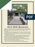 Porta Bella Restaurant Menu