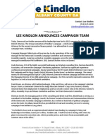 02.08.12 - Lee Kindlon Announces Campaign Team