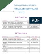 HORARIOS PARTIDOS 11-2