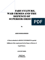 Aziz Mohammed - PhD Thesis - Bond University - Military Culture War Crimes and the Defence of Superior Orders - August 2008