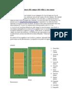 Dimensiones del campo del vóley y sus zonas