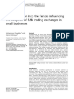 An Investigation Into the Factors Influencing the Adoption of B2B Trading Exchanges in Small Businesses
