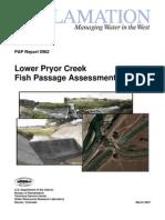 Lower Pryor Creek Fish Passage Assessment Study