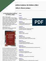 Borón, Atilio - La filosofía política moderna de hobbes a marx