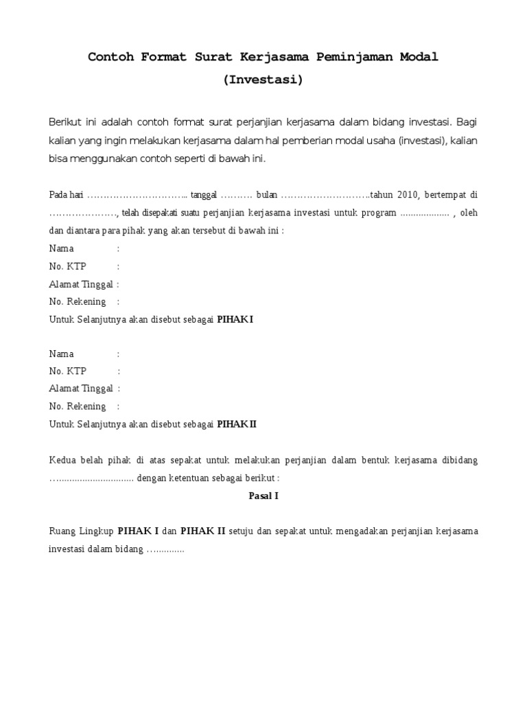 Contoh Format Surat Kerjasama Peminjaman Modal Investasi 2
