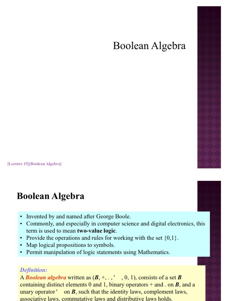 Lec15 Boolean Algebra Logic