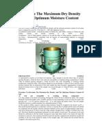 Determine the Maximum Dry Density and the Optimum Moisture Content of Soil