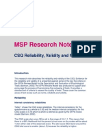 2010 CSQ Reliability and Validity